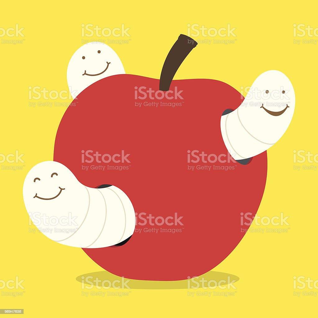 maggots and apple - vector royalty-free maggots and apple vector stock vector art & more images of animal