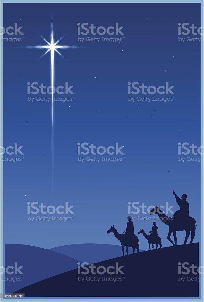 Magi and the Christmas star vector art illustration