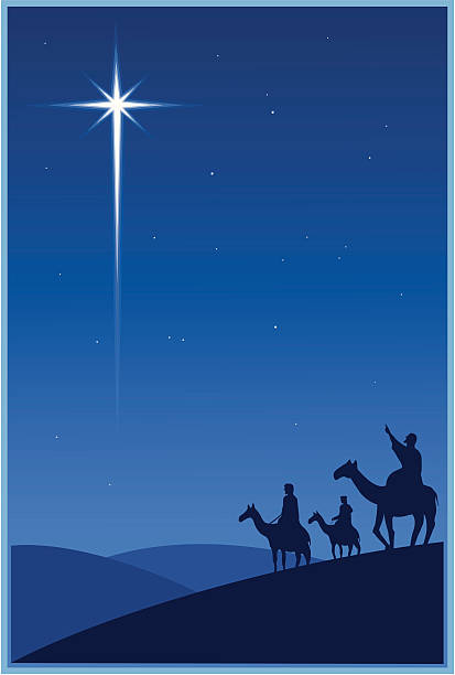 Magi and the Christmas star vector art illustration