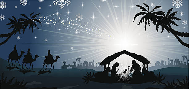 Magi crib blue silhouette nativity scene with holy family and the three kings of oriental landscape-transparency blending effects and gradient mesh-EPS10. nativity silhouette stock illustrations