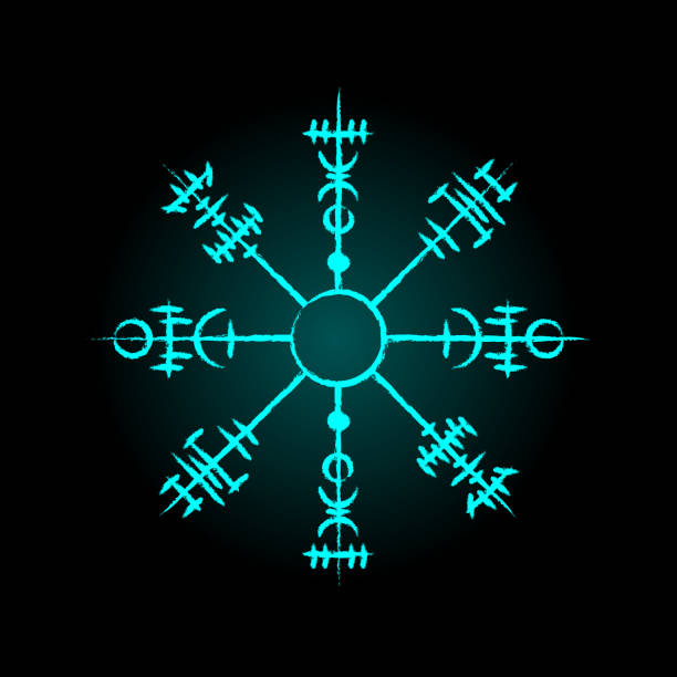 Magic ancient viking circle symbol Light blue ancient viking circle symbol isolated on black voodoo stock illustrations