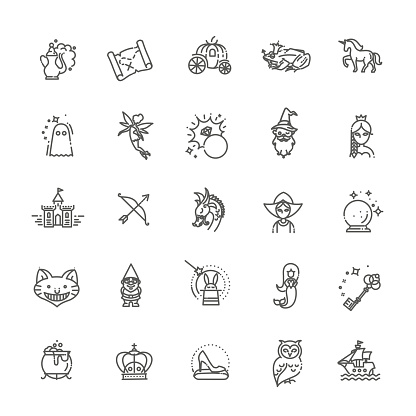 Magic and Alchemy thin line art icons set. Fairy tale, fantasy, fiction book