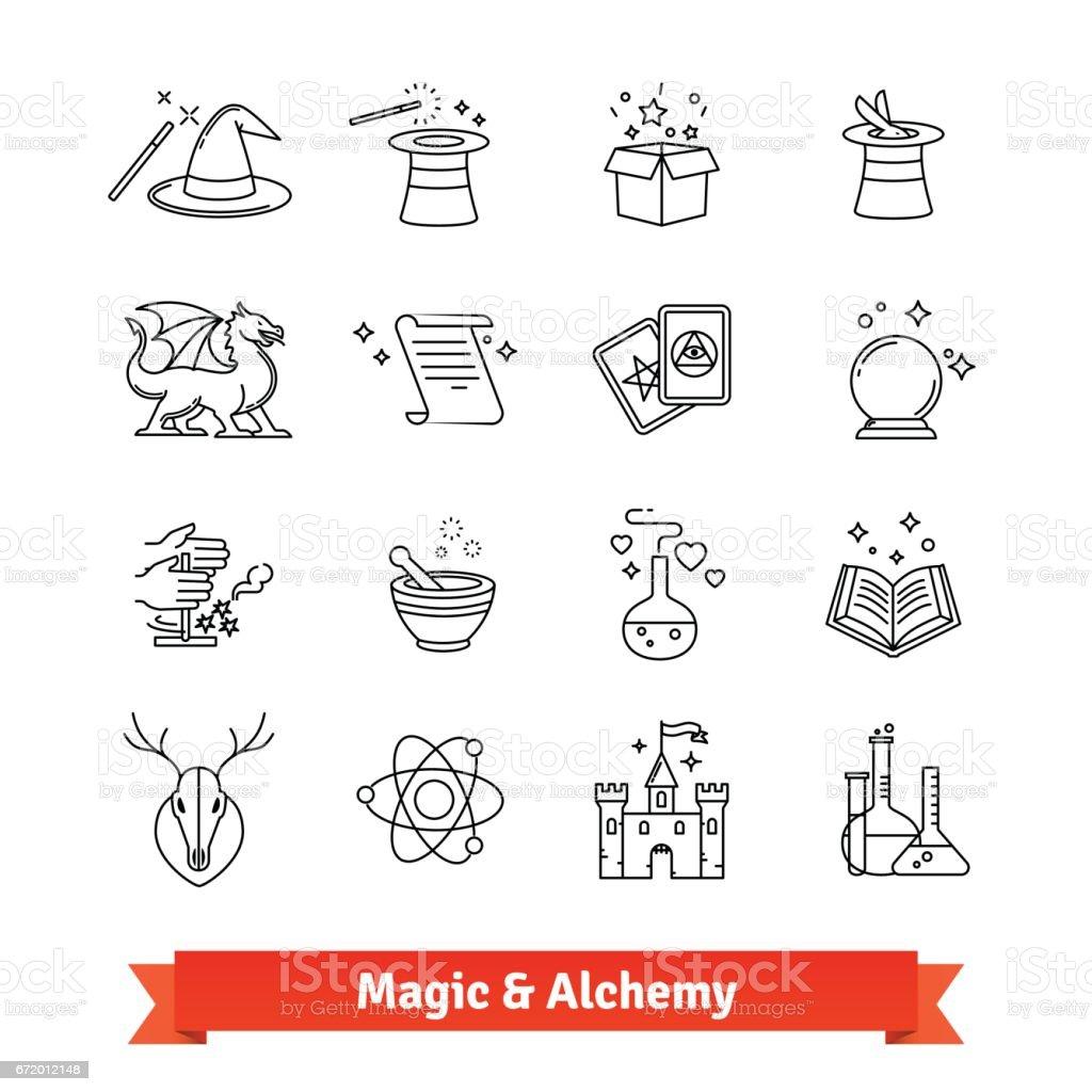 Magia y alquimia delgada línea arte iconos conjunto - ilustración de arte vectorial