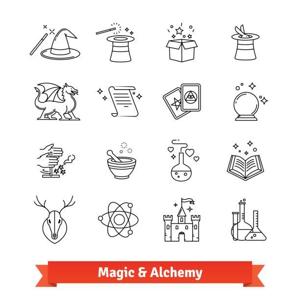 magie und alchemie dünne linie kunst icons set - magie stock-grafiken, -clipart, -cartoons und -symbole