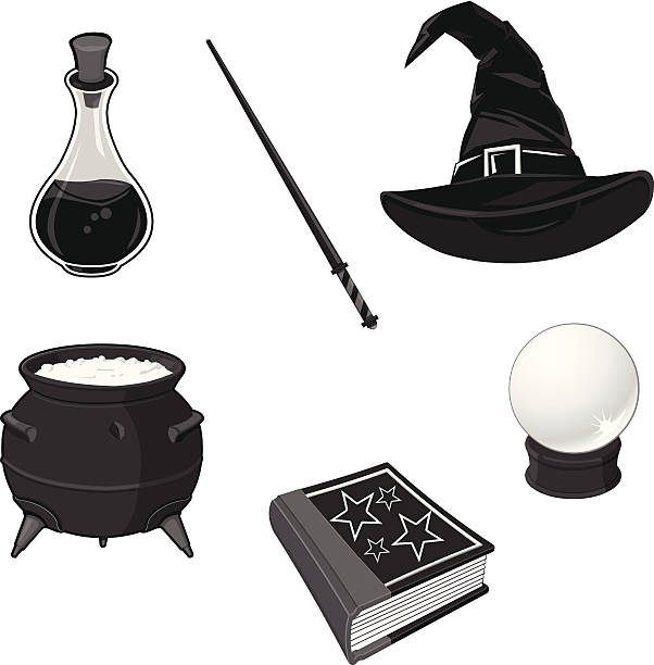 Magic and Fairytale Icons A vector illustration of magical equipment for a story or fairytale. love potion stock illustrations