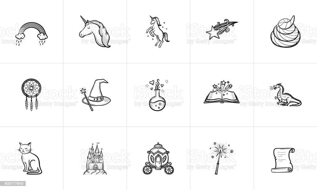 Magic and fairytale theme sketch icon set vector art illustration