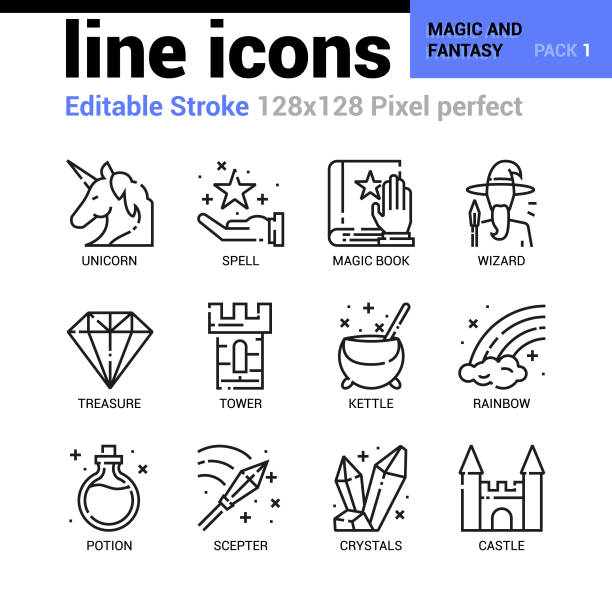 magic and fantasy line icons set - editable stroke, pixel perfect thin line vector icons for web design and website application. - unicorn line drawings stock illustrations, clip art, cartoons, & icons