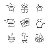 Magic and magician tools. Thin line art icons set