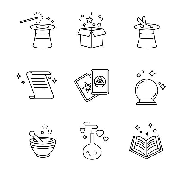 magic and magician tools. thin line art icons set - surprise stock illustrations