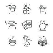 Magic and magician tools. Thin line art icons set