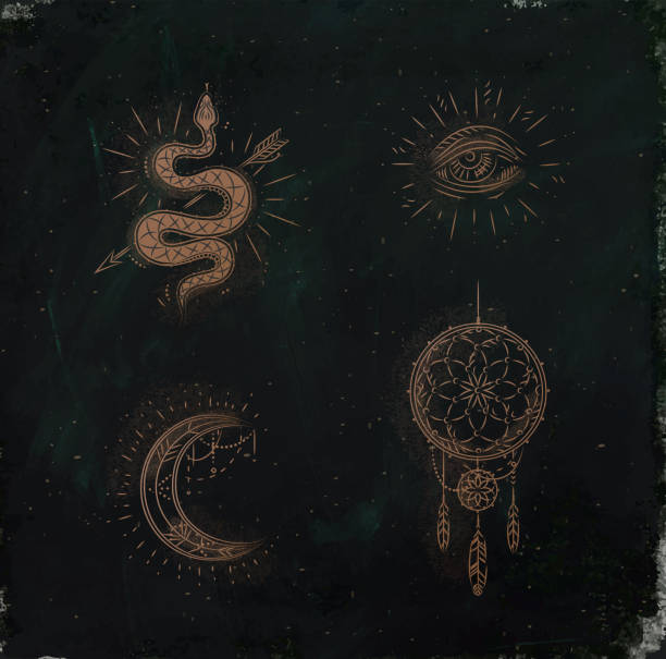 magic and mystic signs dreamcatcher green - snakes tattoos stock illustrations