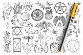 Magic and occult symbols doodle set. Collection of hand drawn spiritual eyes, snakes, crystals, insects and magical symbols for occultism isolated on transparent background