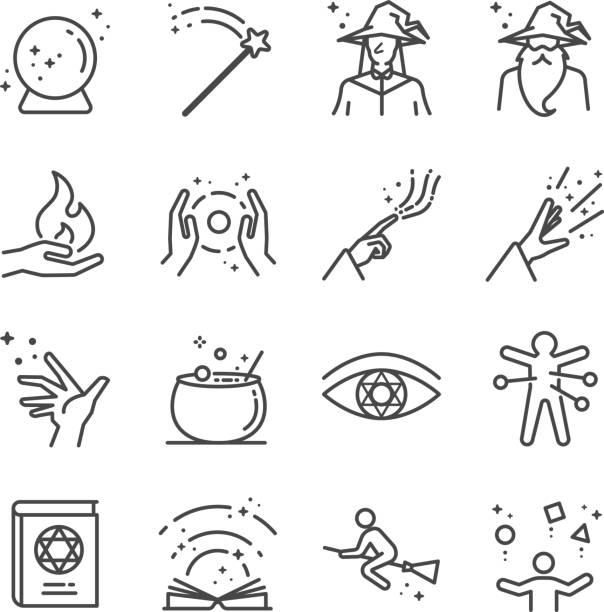 magie und zauber icons set - magie stock-grafiken, -clipart, -cartoons und -symbole