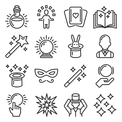 Magic and Trick Icons Set on White Background. Vector