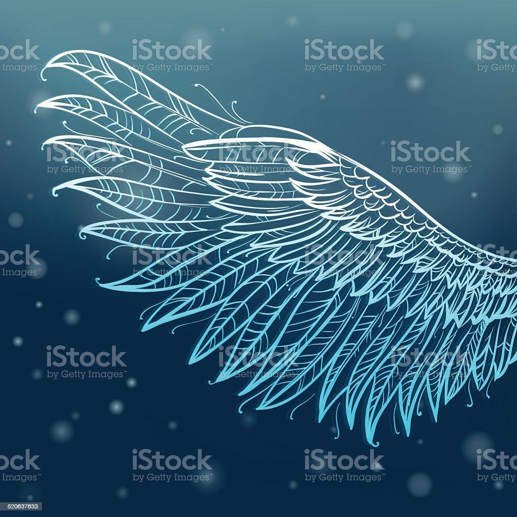 Magic angel wing vector art illustration