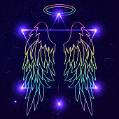 Magic background with angel wings. Wings over night sky backgrou