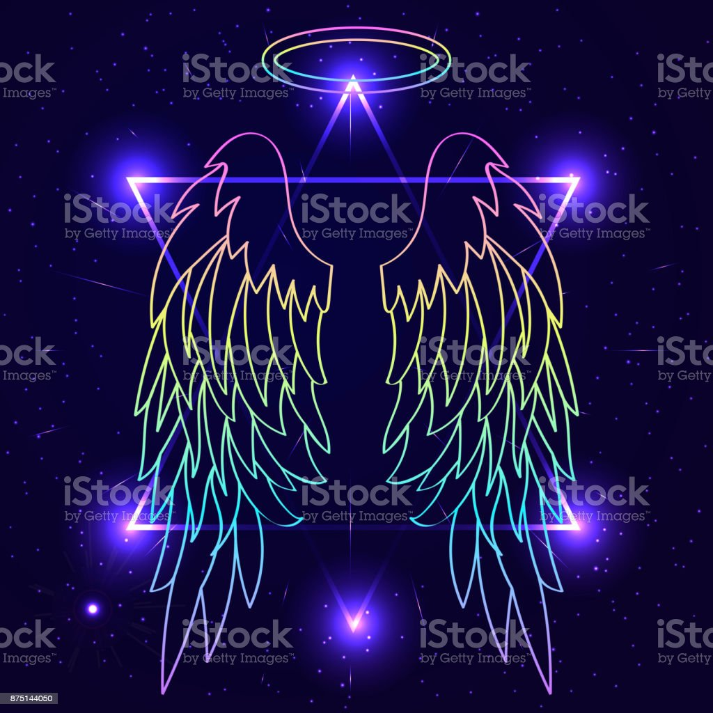 Magic background with angel wings. Wings over night sky backgrou vector art illustration