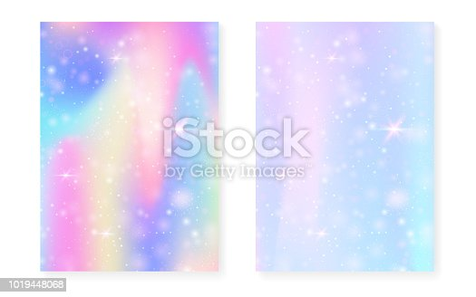 Magic background with princess rainbow gradient. Kawaii unicorn hologram. Holographic fairy set. Bright fantasy cover. Magic background with sparkles and stars for cute girl party invitation.