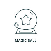Magic ball vector line icon, outline concept, linear sign