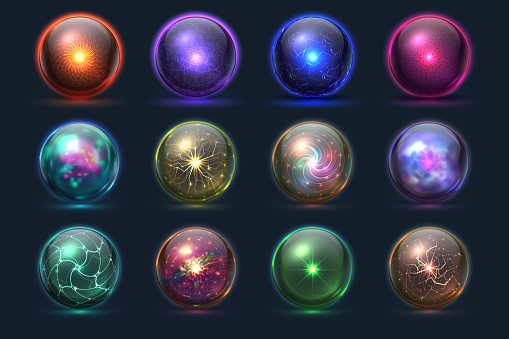 Magic balls. Energy mysterious orbs, magical crystal glass prediction paranormal sphere. Vector set