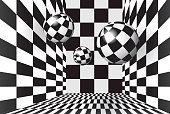 Magic black and white balls in checkered room