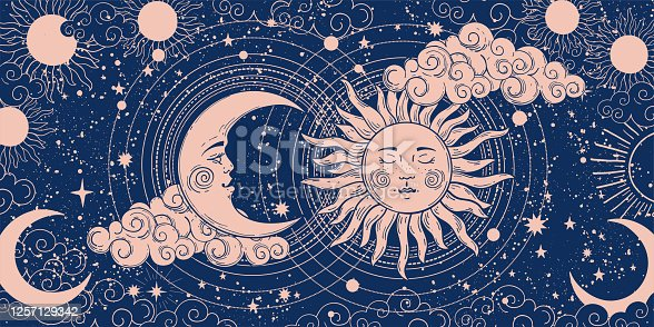 istock Magic banner for astrology, divination, magic. The device of the universe, crescent moon and sun with moon on a blue background. Esoteric vector illustration, pattern. 1257129342