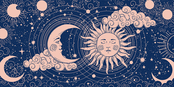 Magic banner for astrology, divination, magic. The device of the universe, crescent moon and sun with moon on a blue background. Esoteric vector illustration, pattern.