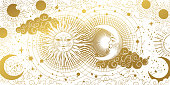 istock Magic banner for astrology, tarot, boho design. The universe, golden crescent, sun, and clouds on a white background. Esoteric vector illustration, pattern. 1283630282