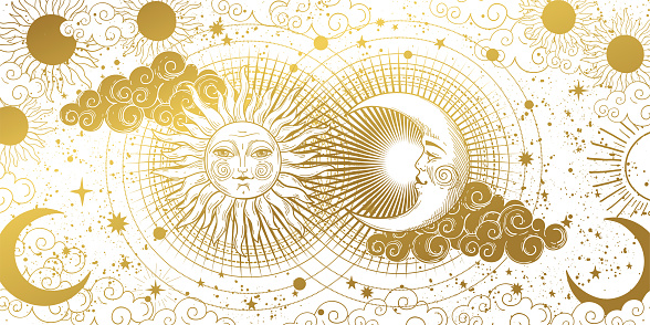 Magic banner for astrology, tarot, boho design. The universe, golden crescent, sun, and clouds on a white background. Esoteric vector illustration, pattern.