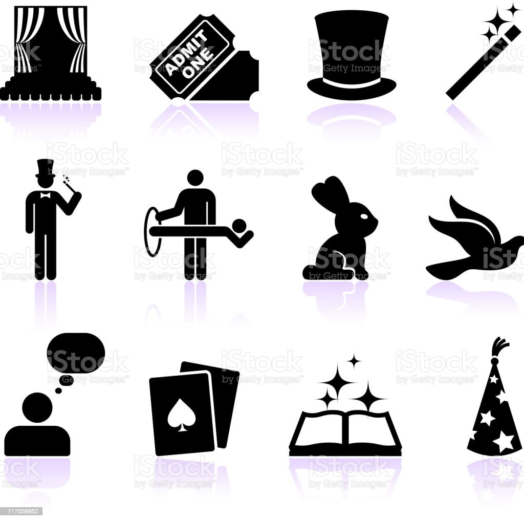 magic black and white royalty free vector icon set vector art illustration