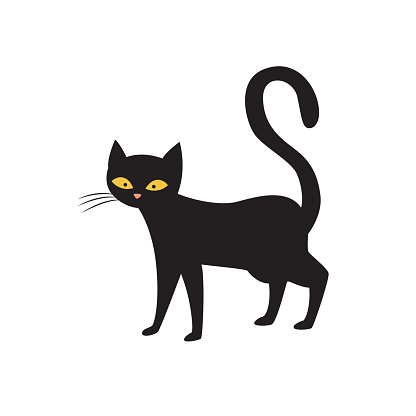 Magic black cat character standing alone, flat vector illustration isolated.