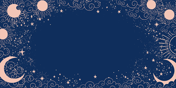 Magic blue background with moon and sun, crescent moon, place for text. Astrological banner with stars, cosmic pattern. Doodle vector illustration.