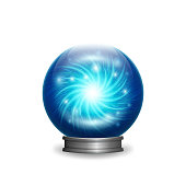 Magic blue crystal ball with lights. vector illustration - eps 10