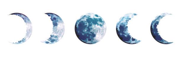 illustrazioni stock, clip art, cartoni animati e icone di tendenza di set di progettazione vettoriale delle fasi lunari blu magiche - luna gibbosa