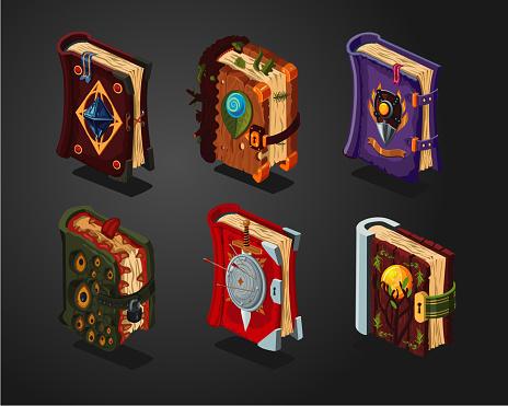Magic book icons set on isolated background.