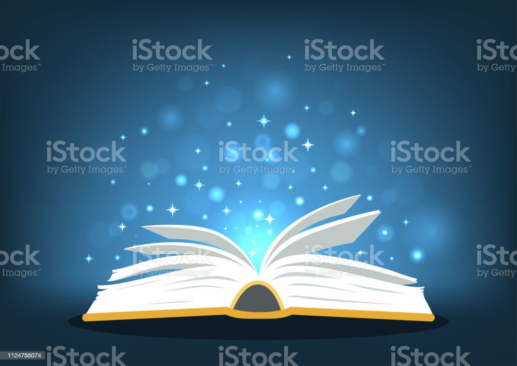 Magic book. Open book with magic lights on dark blue background