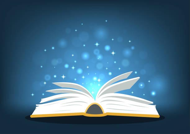 ilustraciones, imágenes clip art, dibujos animados e iconos de stock de libro de magia - open book