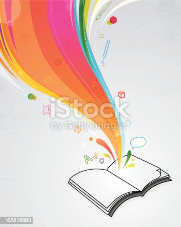 Magic book with education theme icons. Eps 10. This illustration contains transparent and blending mode objects. Included files: Aics3 and hi-res jpg.