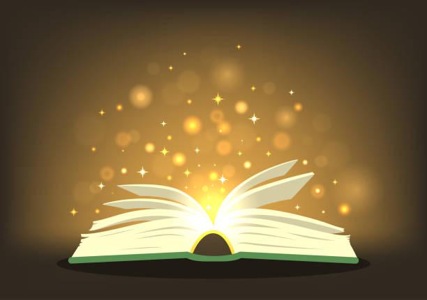 magisches buch mit magischen lichtern. - geistergeschichten stock-grafiken, -clipart, -cartoons und -symbole