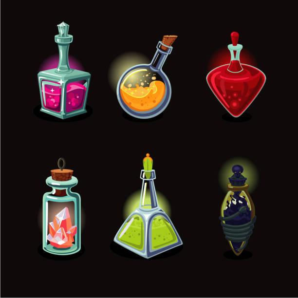 Magic bottle set. Game design vector icons set. Cartoon style. Game design vector icons set. Magic bottle set. Cartoon style. potion stock illustrations