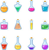 Magic bottle vector magical game potion in glass or liquid poison drink of alchemy or chemistry illustration set of magnificent elixir in phial isolated on white background