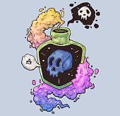 Magic bottle with poison. Mystical skull in a vessel. Cartoon illustration for print and web. Character in the modern graphic style.