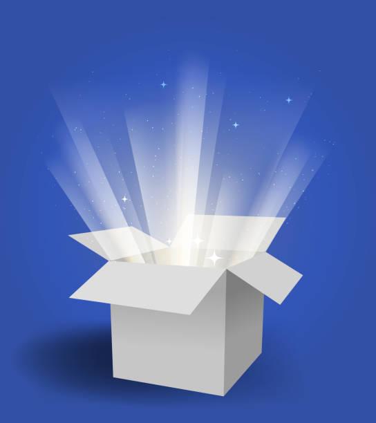ilustrações, clipart, desenhos animados e ícones de caixa mágica - aberto