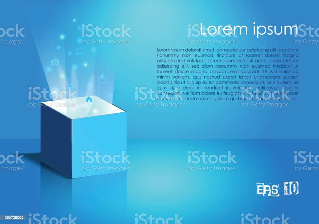 빛과 파란색에서 아이콘 마법 상자 royalty-free 빛과 파란색에서 아이콘 마법 상자 계절에 대한 스톡 벡터 아트 및 기타 이미지