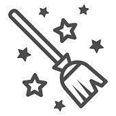 Magic Broom line icon, Halloween concept, magic witch broom sign on white background, Broomstick with stars icon in outline style for mobile concept and web design. Vector graphics