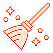 Magic broom line icon. Wizard and witch flying besom for household. Halloween party vector design concept, outline style pictogram on white background