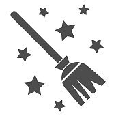 Magic Broom solid icon, Halloween concept, magic witch broom sign on white background, Broomstick with stars icon in glyph style for mobile concept and web design. Vector graphics