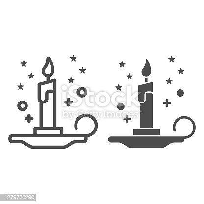 istock Magic candle line and solid icon, Halloween concept, burning candle and stars sign on white background, wax candle on candlestick icon in outline style for mobile, web design. Vector graphics. 1279733290
