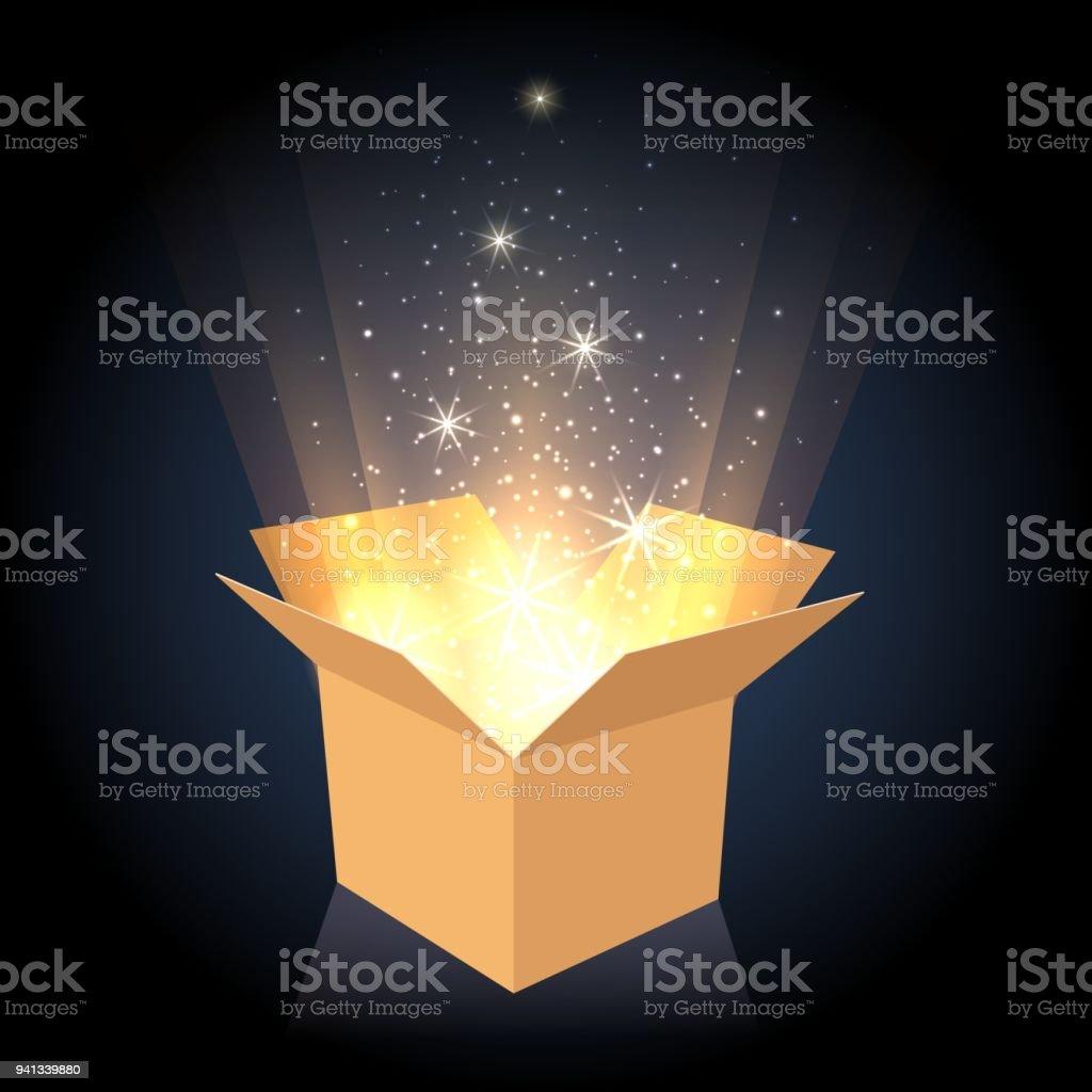 Boîte en carton magique avec la lumière boîte en carton magique avec la lumière vecteurs libres de droits et plus d'images vectorielles de anniversaire libre de droits