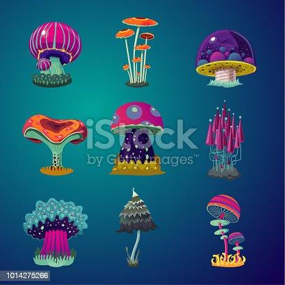 Game design element collection.Magic cartoon mushrooms icons set. Fantasy object vector illustration.